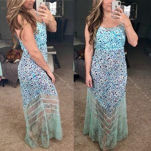Blue floral chiffon and lace maxi dress